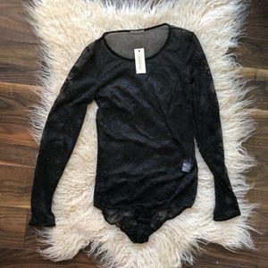 Intimissimi Sheer Black Lace Bodysuit